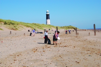 Beach cleaning at Spurn