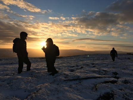 People on peatlands in snow