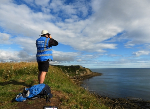 Man surveying for cetaceans with binoculars on a cliff top